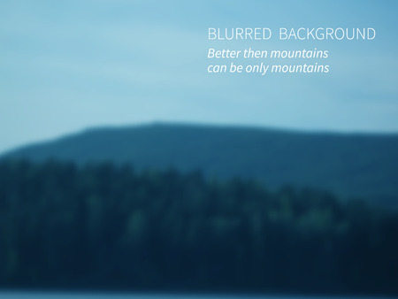 smeared: Vector.Blurred landscape, view of mountain forest and sky. Illustration