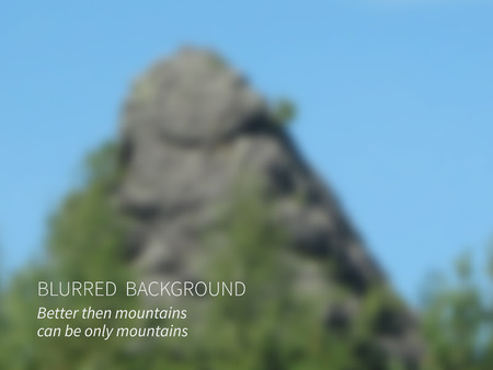 mountain view: Vector.Blurred landscape, view of mountain forest and sky.In foreground huge rock Illustration