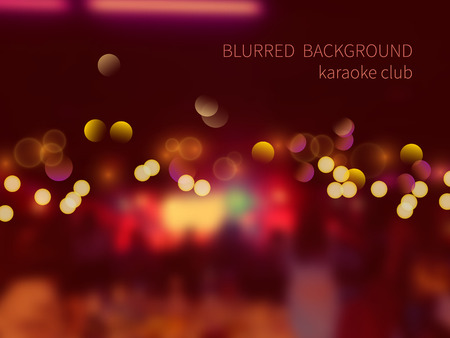 karaoke: Vector blurred background with bokeh effect.Colorful crowd of people