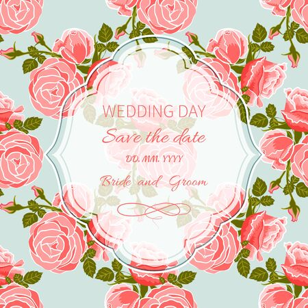 Wedding invitation card with frame on seamless background of roses Illustration