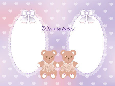 Baby shower for twins frame with bears on blurred purple background Vector