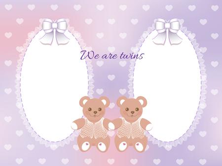 fondo para bebe: Ducha de beb� para los gemelos marco con osos en fondo p�rpura borrosa