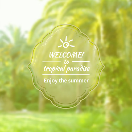 smeared: Summer blurred background. Vacation with palm trees and text design