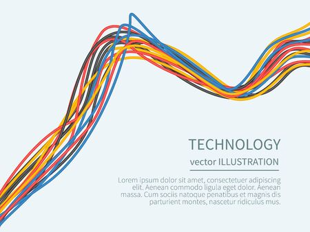 cabling: Power cord from the multicolored wires isolated with place for text