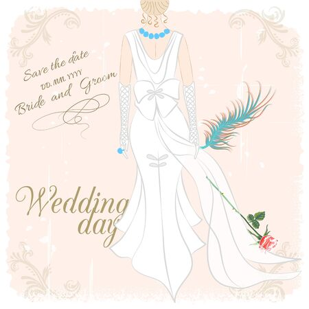 Wedding invitation card.Bride in white dress with feather on grungy background Vector