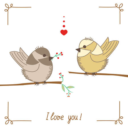 A pair of lovers of birds on branch isolated with inscription I love you Vector