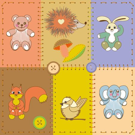 Card application with collection of funny cartoon animals.Patchwork. Vector