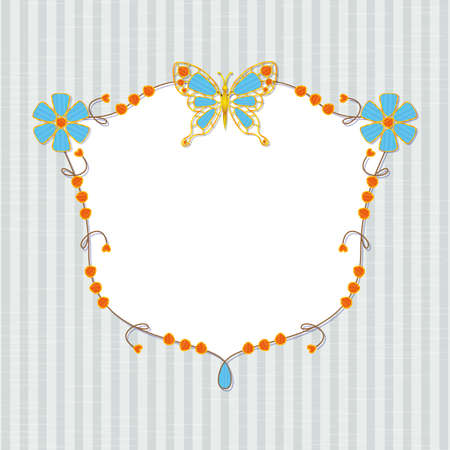 incrustation: Design frame with floral ornament and butterflies inlaid jewels on striped background Illustration