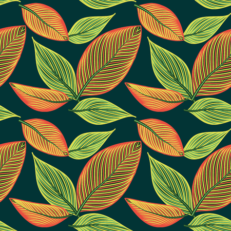 Beautiful seamless floral pattern background with large exotic leaves Vector