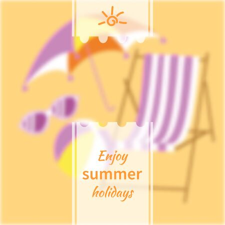 Summer background blur with a chaise longue, ball, sunglasses and umbrella