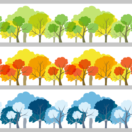 winter tree: Set of three linear seamless trees different colors isolated Illustration