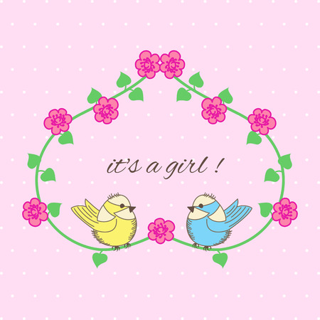 Baby Shower heart of flowers and birds on pink background Vector