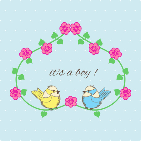 Baby Shower heart of flowers and birds on blue background Vector