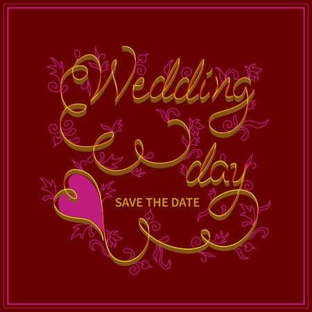 wedding day: Wedding day, save the date.Inscription hand letters with swirls in the style of Kvilling.