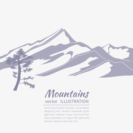 Stylized  flat illustration showing an alpine Landscape with mountains and firs