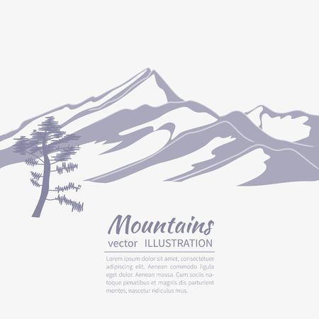 Stylisé illustration plate montrant un paysage alpin avec des montagnes et des sapins Banque d'images - 40006658
