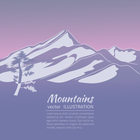 realistically: Stylized  flat illustration showing an alpine Landscape with mountains and firs