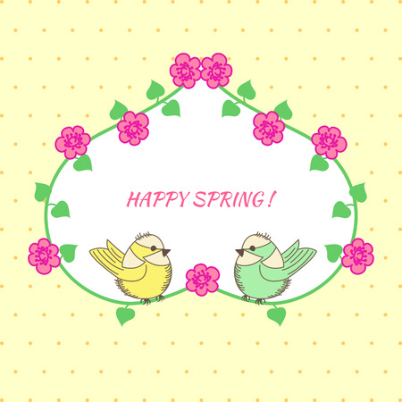 baby shower yellow: Baby Shower heart of flowers and birds on yellow background