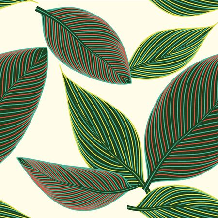 subtropical: Beautiful seamless floral pattern background with large exotic leaves