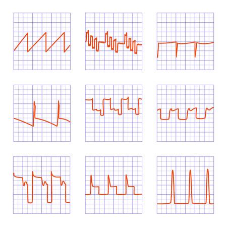 oscilloscope: Set di nove diversi graphs.Diagrams di oscilloscopio su carta a scacchi. Vettoriali
