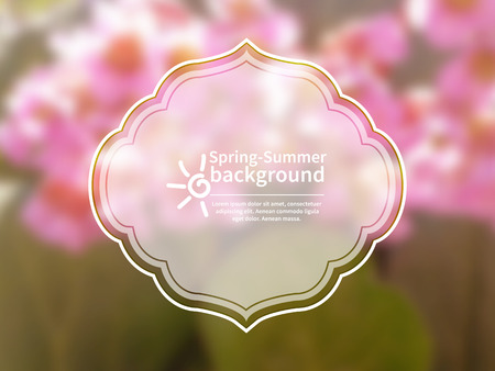 smeared: Nature blurred background with green leaves and pink flowers.Frame for text and icon of sun.