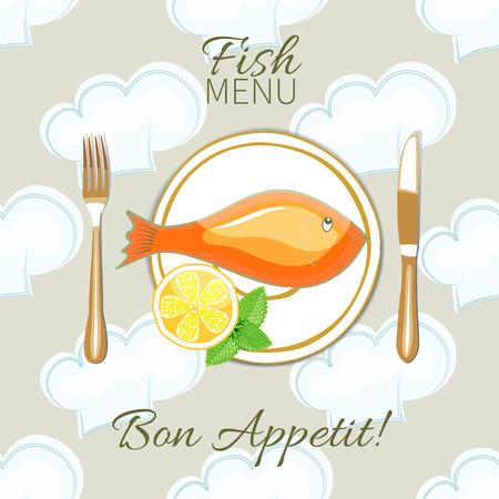 red  fish: Bon Appetit.Table setting.Dish of red fish and cutlery on seamless background.