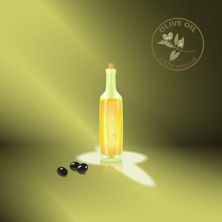 vesicles: A bottle of olive oil with reflection and olives.Emblem.