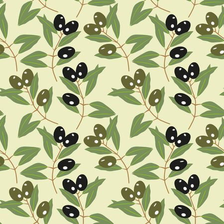 realistically: Seamless pattern of olive branches on a green background. Illustration