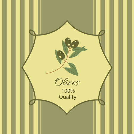 Frame with an olive branch and text on a striped background Illustration