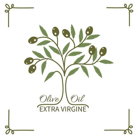 The olive tree and olive oil typography.Logo label badge. Stok Fotoğraf - 40353804