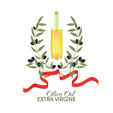 vesicles: A bottle of olive oil and branch of the olive tree,red ribbon on a white background.Emblem.
