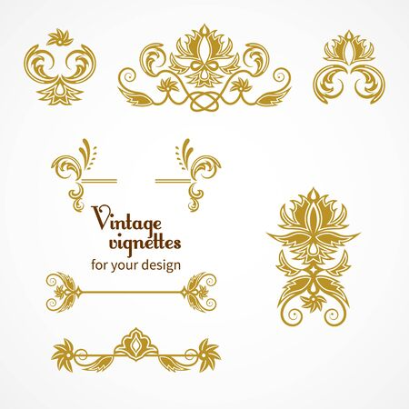 vignettes: Set of vintage vignettes in Victorian style. Ornate element for design. Ornamental patterns for wedding invitations, birthday and greeting cards.