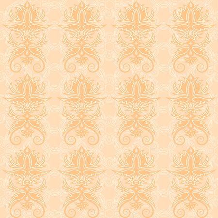peachy: vintage seamless pattern with vignettes and curls Illustration