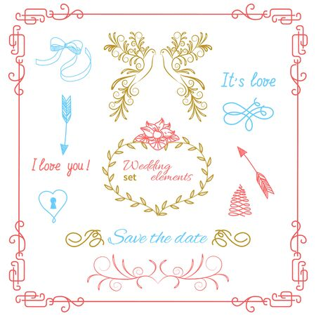 Set of vintage frames with vignettes in Victorian style. Ornate element for design. Ornamental patterns for wedding invitations, birthday and greeting cards.