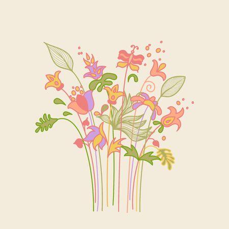 jardines con flores: Coloridas flores de primavera abstractos ramo con estilo de dibujo de mariposa