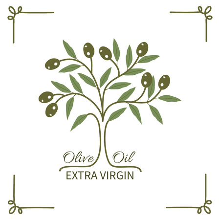 vegetable oil: The olive tree and olive oil typography.Logo label badge.