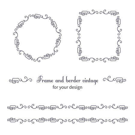 vignettes: Set of vintage frames and borders with vignettes in Victorian style. Ornate element for design. Ornamental patterns for wedding invitations, birthday and greeting cards.