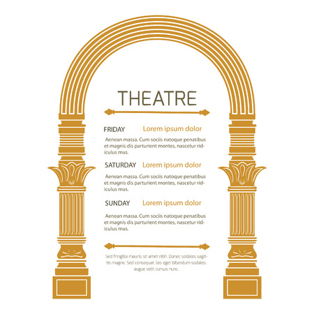 arch: Fantasy ancient arch in vintage style on white background.Theatrical poster invitation to show.