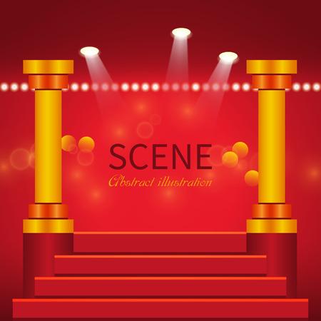 escalera: Resumen escena con columnas y escaleras iluminadas efecto spotlights.Glowing para las personas o publicidad del producto
