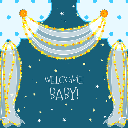 Baby Shower Curtains Frame With Beads And Buttons Royalty Free ...
