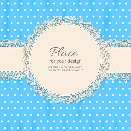 ruffles: Retro background with lace and polka-dot wallpaper.Baby shower frame.