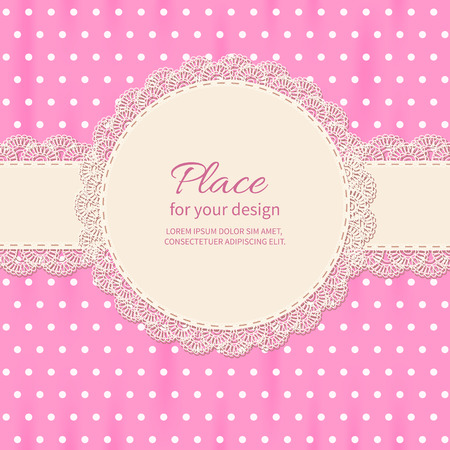 polkadot: Retro background with lace and polka-dot wallpaper.Baby shower frame.