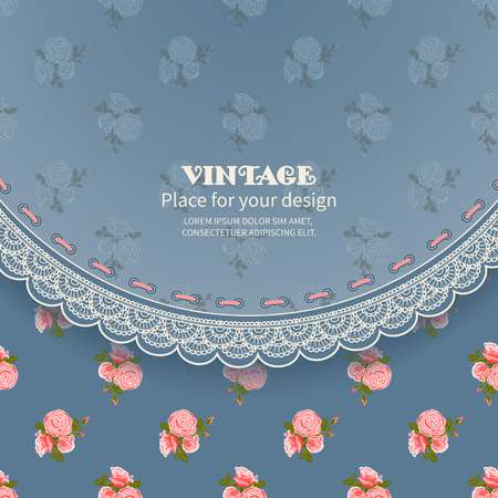 roses wallpaper: Retro background with lace and pattern of roses wallpaper Illustration