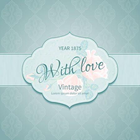 card designs: Small Vintage card with congratulations on background with seamless pattern