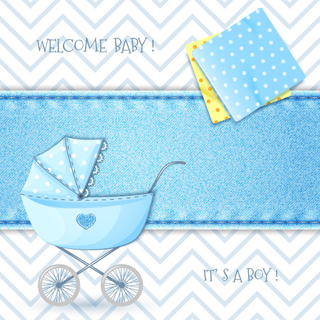 its: Baby Shower with stroller and swaddling clothes on background denim texture Illustration