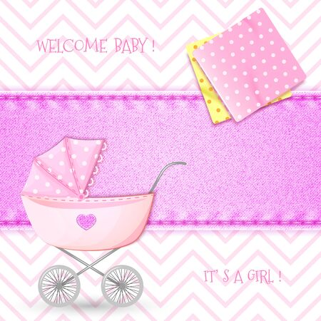 swaddling clothes: Baby Shower with stroller and swaddling clothes on background denim texture Illustration