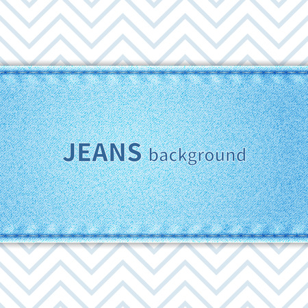seam: Jeans background texture of light blue denim with seam and zig-zag stripes Illustration