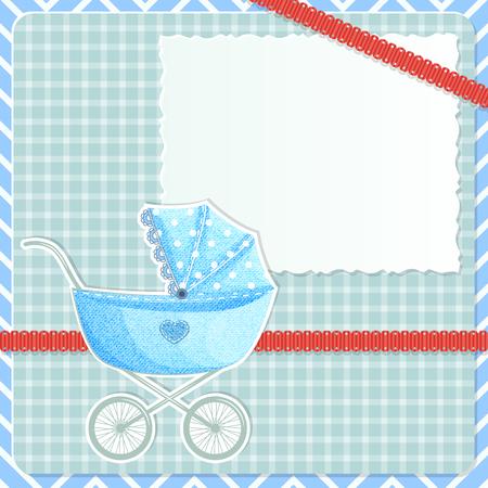 nursing mother: Marco de beb� con el cochecito y tarjetas y cinta roja en el fondo de la tela escocesa