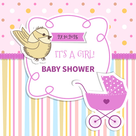 cute cartoon kids frame: Baby frame with with lace and stroller on striped background and polka dots