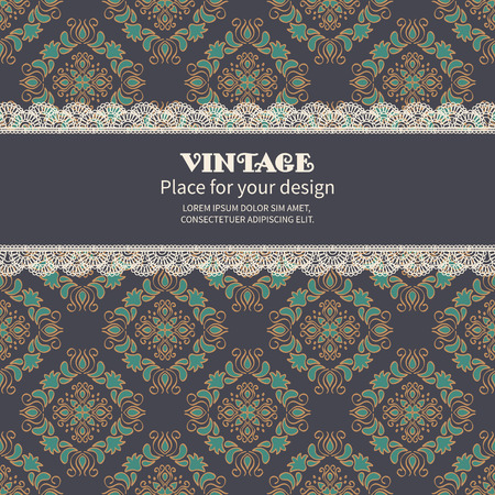 red wallpaper: Invitation card or greeting.Retro background with lace on seamless floral mosaic pattern